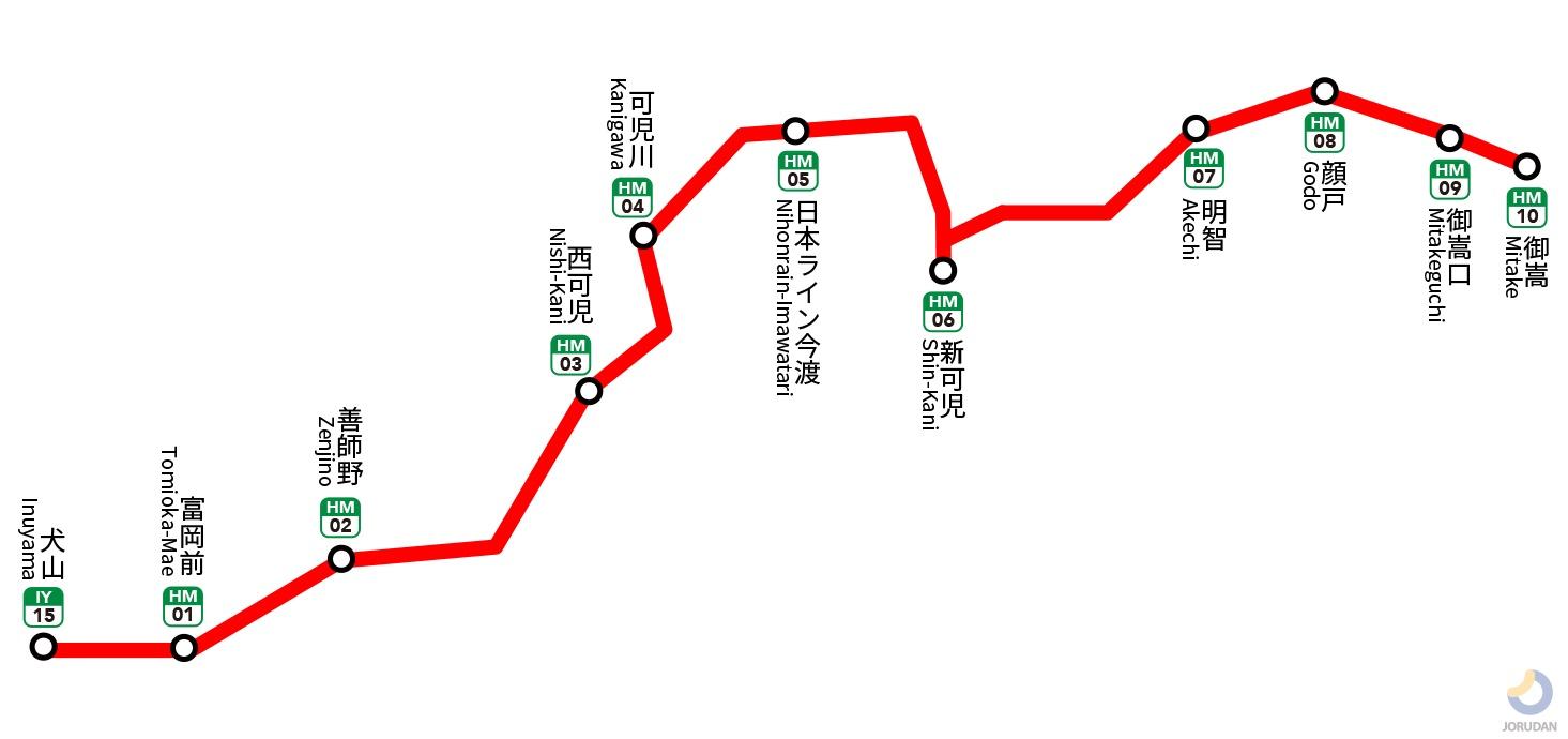 名鉄広見線の路線図