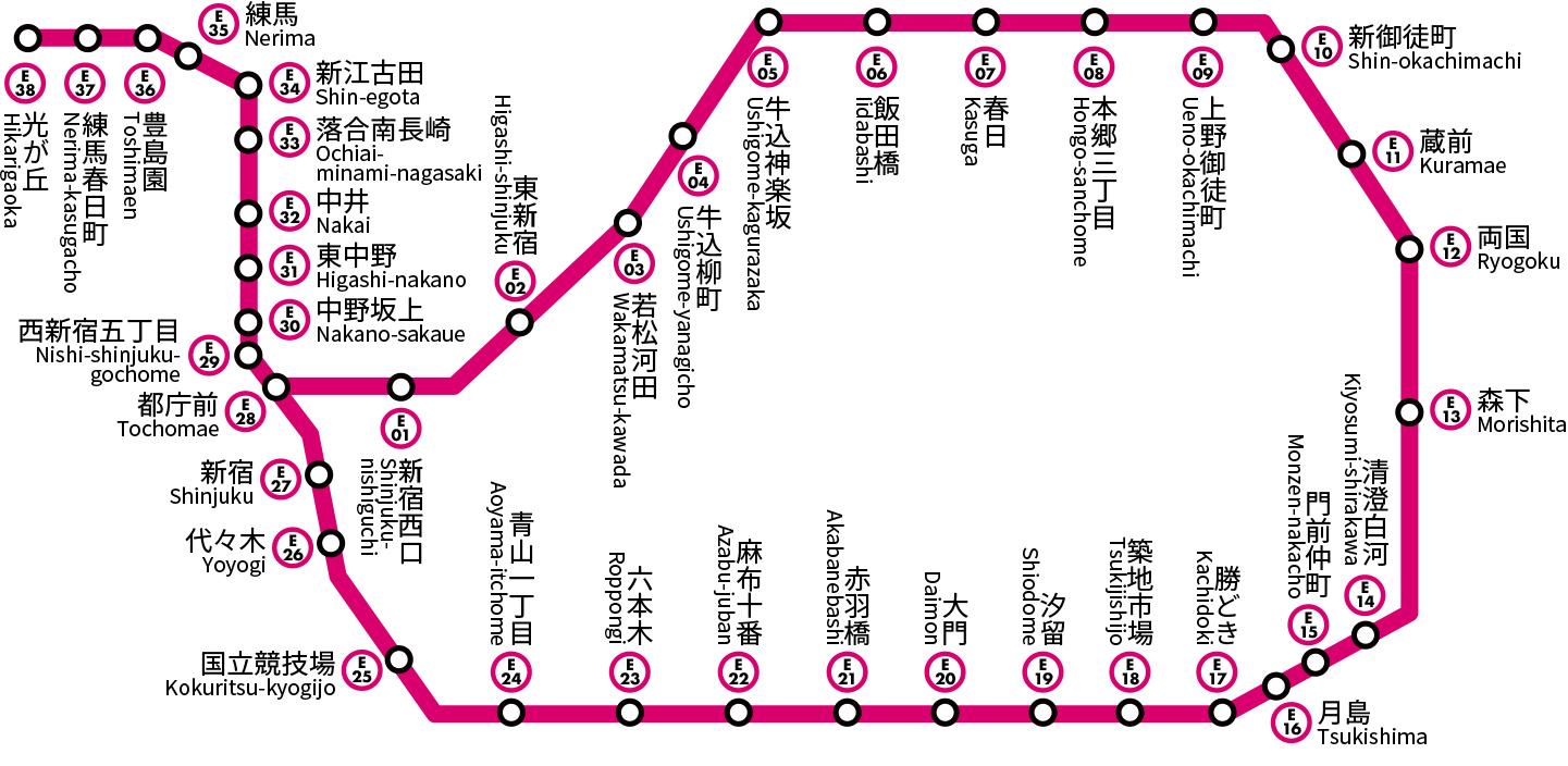 都営大江戸線|路線図|ジョルダン